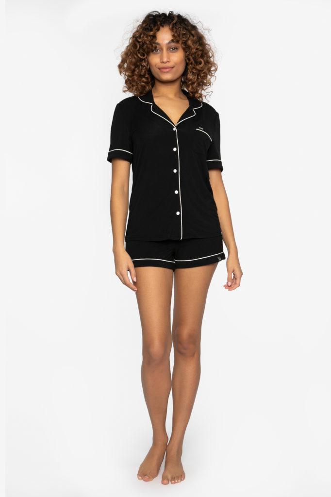 Pretty-you-london-shirt-short-shortama-set-bamboo-black-zwart